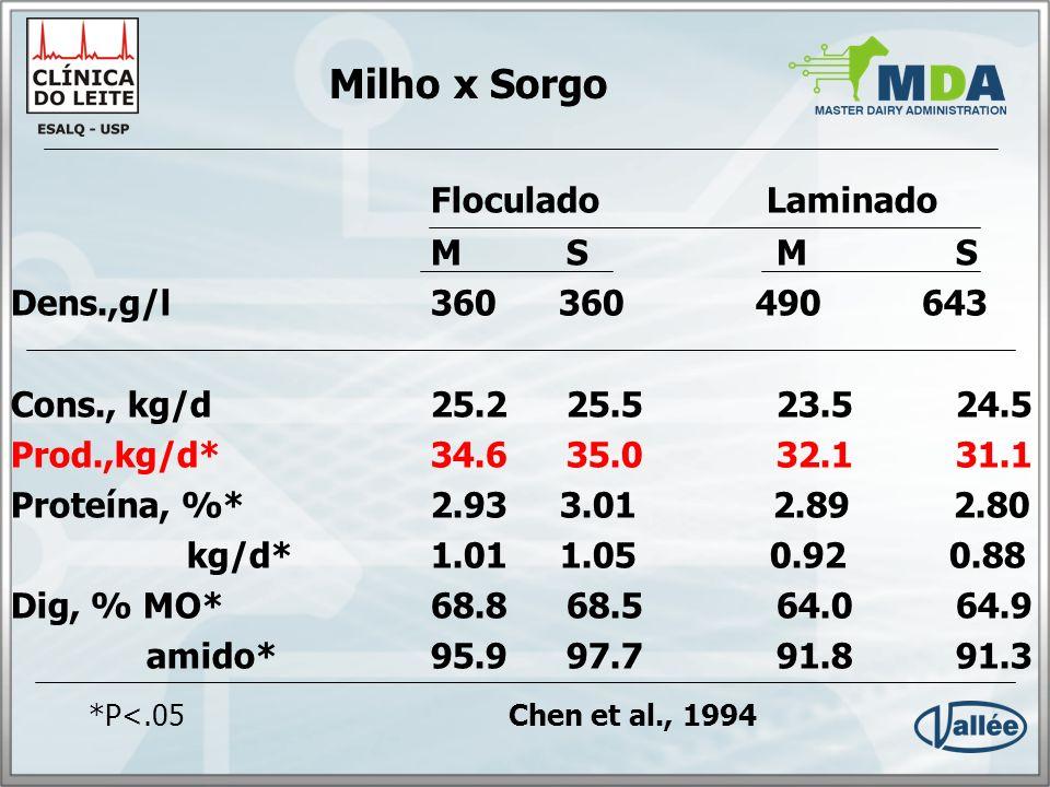 Milho x Sorgo Floculado Laminado M S M S Dens.,g/l 360 360 490 643