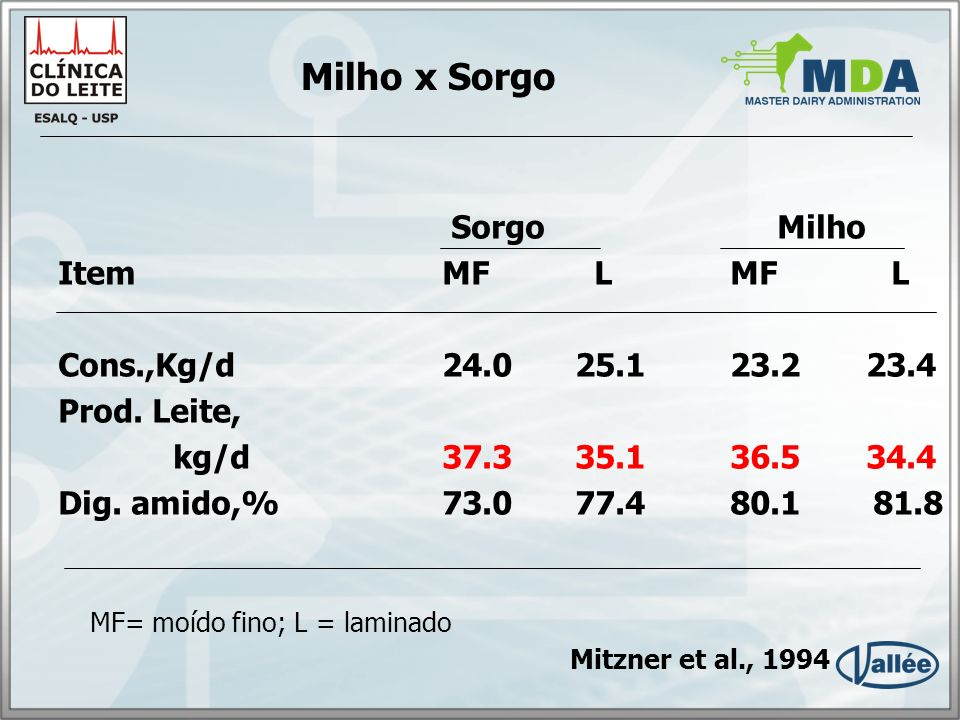 Milho x Sorgo Sorgo Milho Item MF L MF L