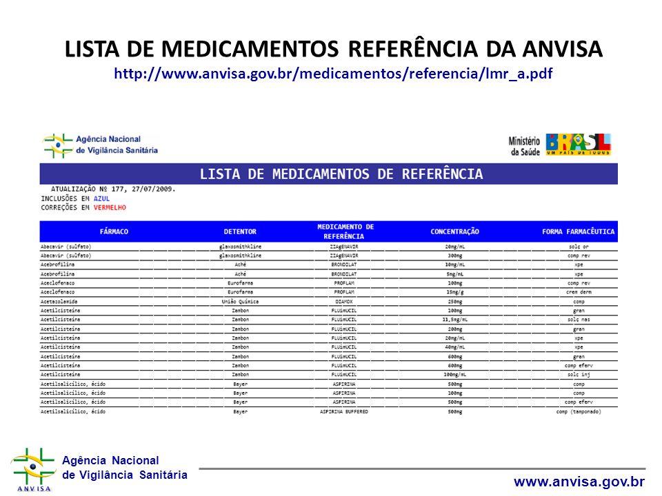 LISTA DE MEDICAMENTOS REFERÊNCIA DA ANVISA http://www. anvisa. gov