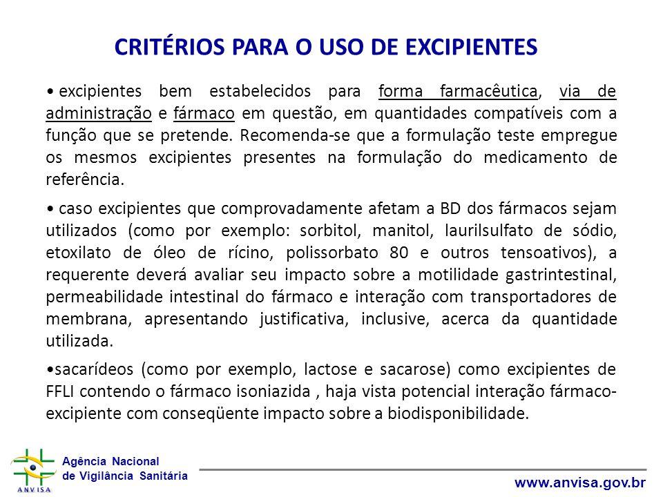 CRITÉRIOS PARA O USO DE EXCIPIENTES