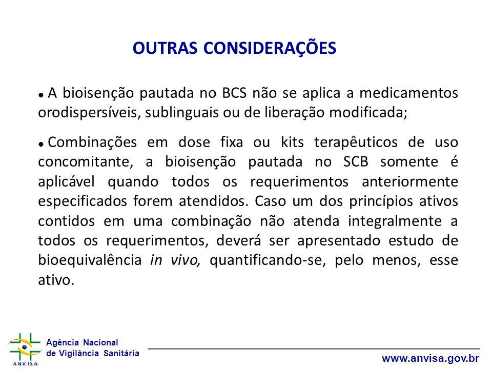 OUTRAS CONSIDERAÇÕES A bioisenção pautada no BCS não se aplica a medicamentos orodispersíveis, sublinguais ou de liberação modificada;