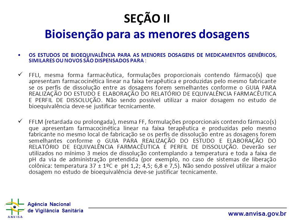 SEÇÃO II Bioisenção para as menores dosagens