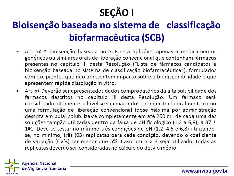 SEÇÃO I Bioisenção baseada no sistema de classificação biofarmacêutica (SCB)