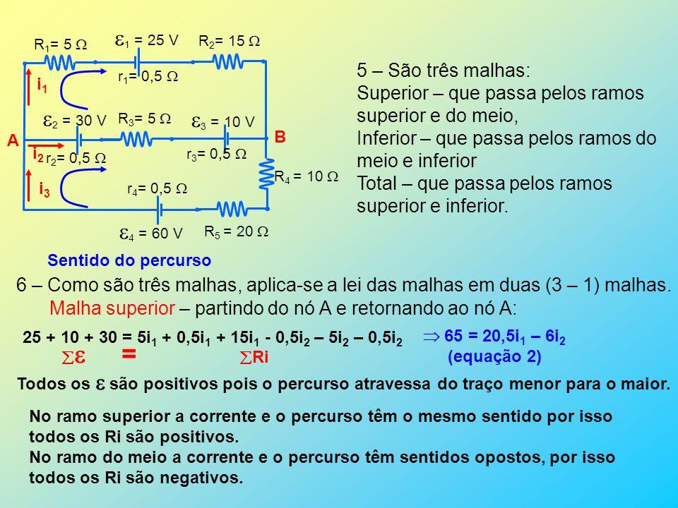 1 = 25 V 2 = 30 V 3 = 10 V 4 = 60 V 5 – São três malhas: