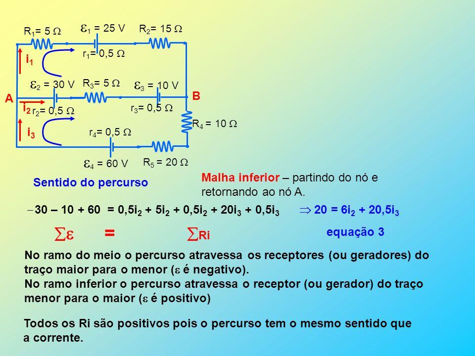 1 = 25 V 2 = 30 V 3 = 10 V 4 = 60 V  = Ri A B i1 i2 i3