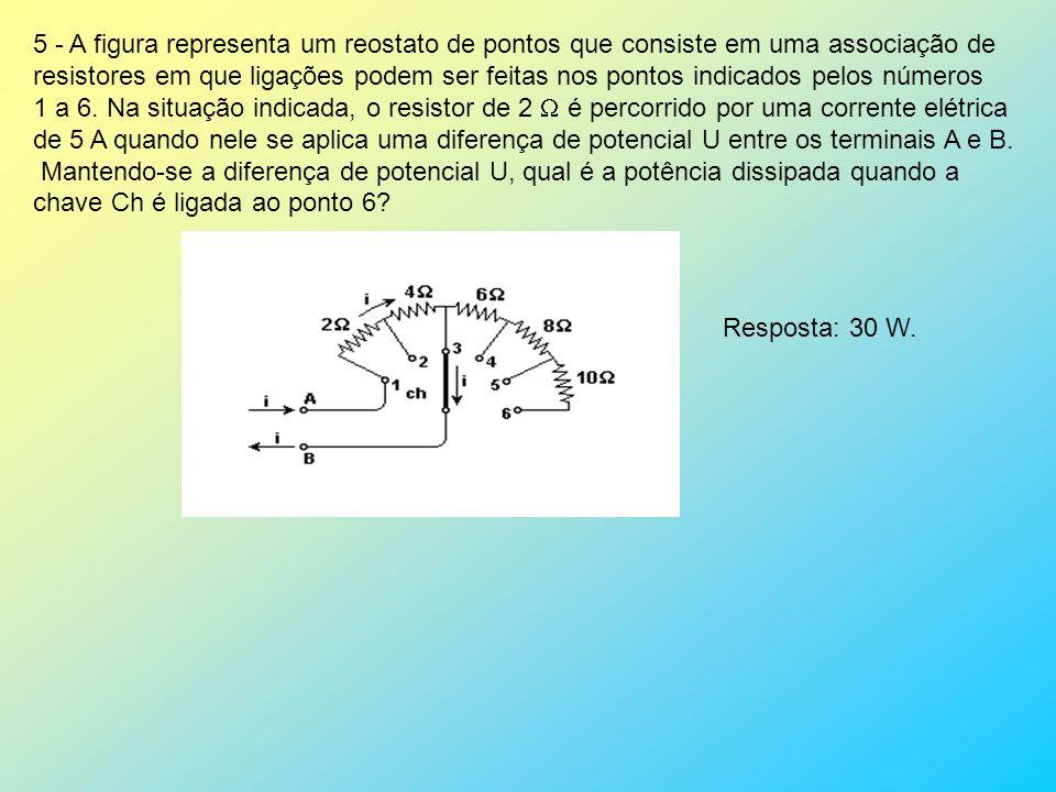 5 - A figura representa um reostato de pontos que consiste em uma associação de