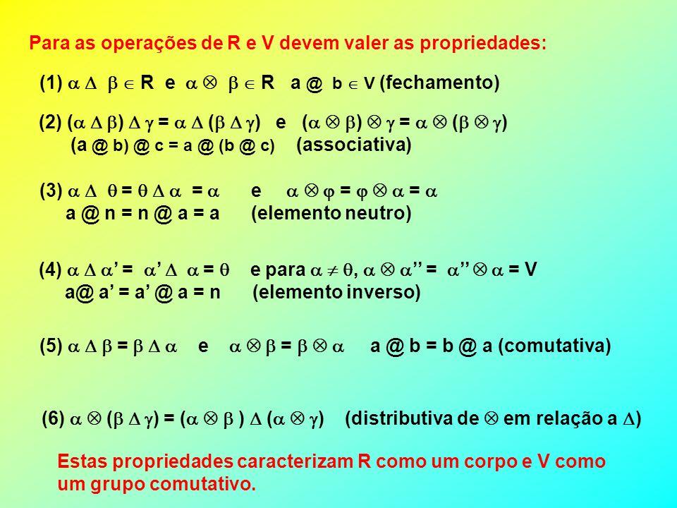 Para as operações de R e V devem valer as propriedades: