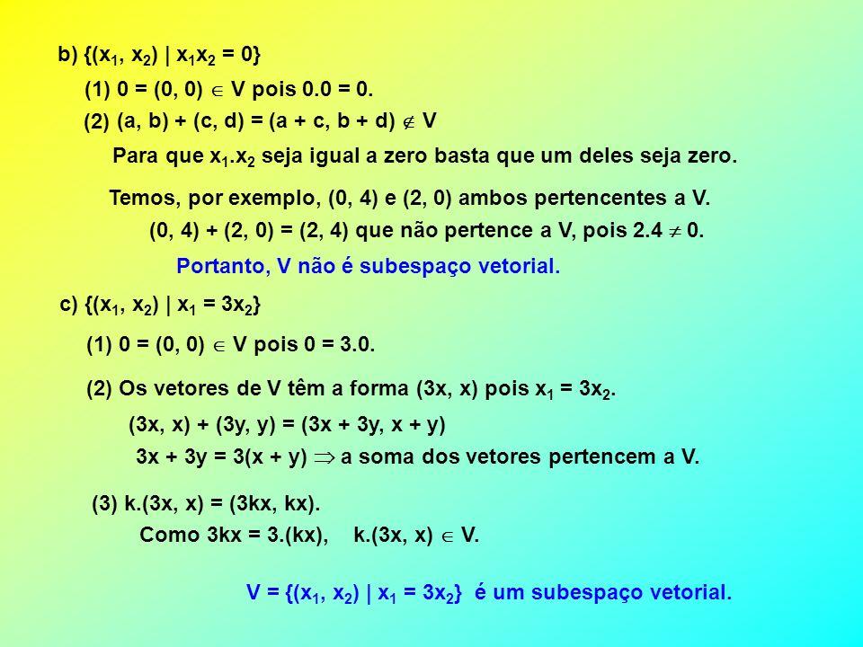 b) {(x1, x2) | x1x2 = 0} (1) 0 = (0, 0)  V pois 0.0 = 0. (2) (a, b) + (c, d) = (a + c, b + d)  V.
