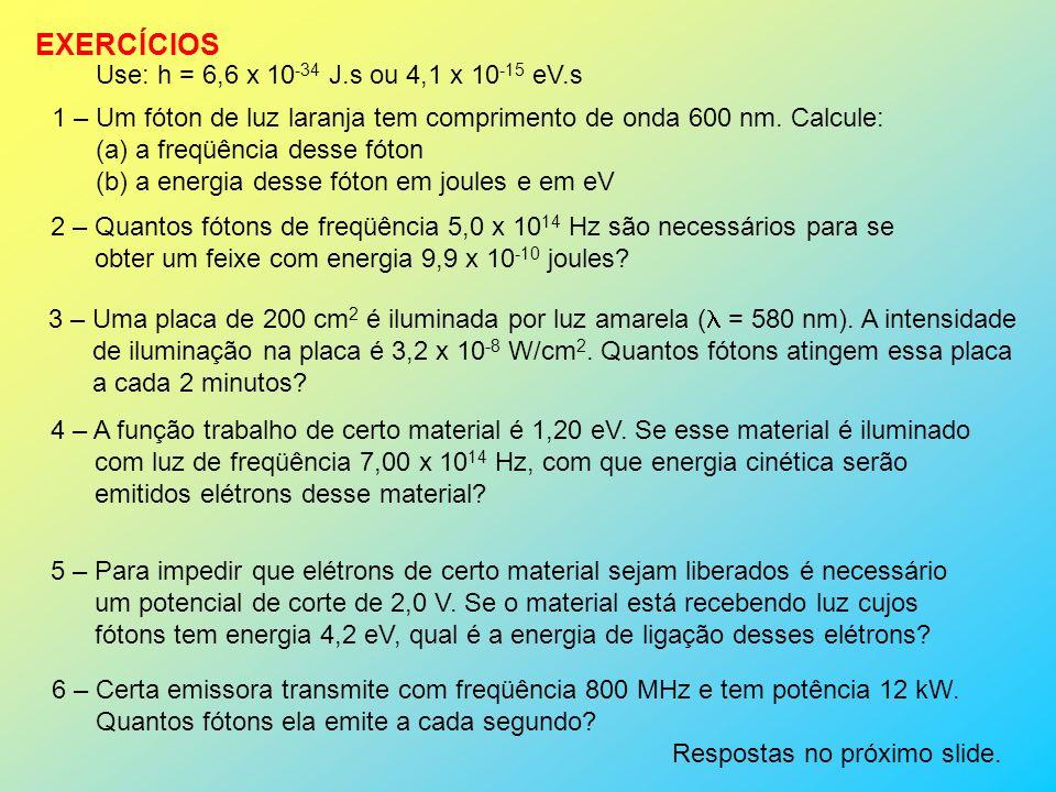 EXERCÍCIOS Use: h = 6,6 x 10-34 J.s ou 4,1 x 10-15 eV.s