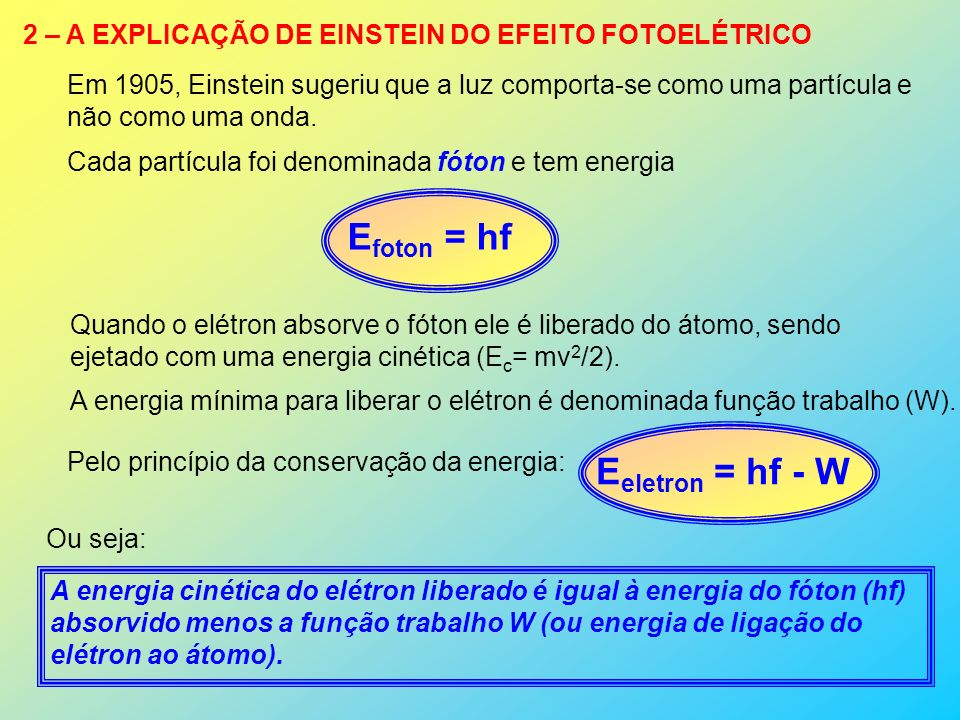 Efoton = hf Eeletron = hf - W