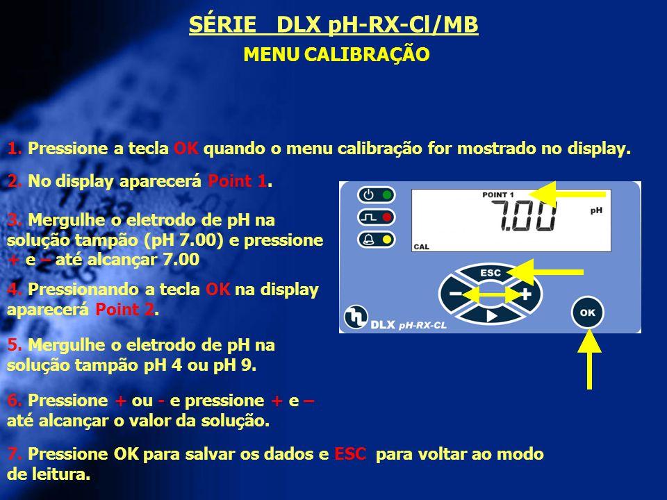 SÉRIE DLX pH-RX-Cl/MB MENU CALIBRAÇÃO