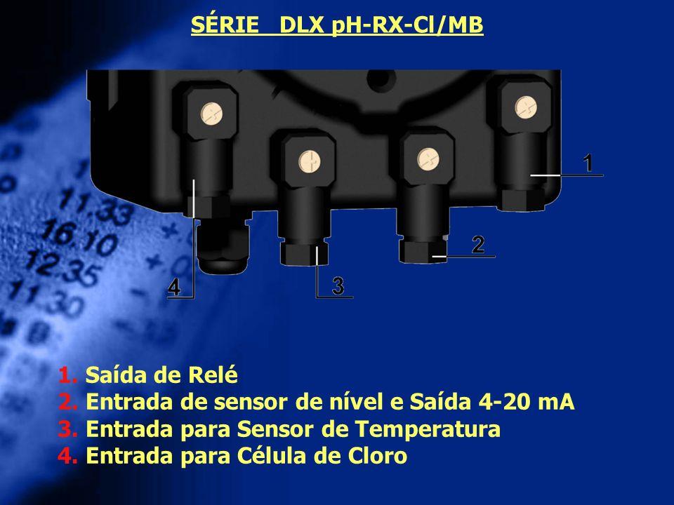 SÉRIE DLX pH-RX-Cl/MB 1. Saída de Relé. 2. Entrada de sensor de nível e Saída 4-20 mA. 3. Entrada para Sensor de Temperatura.