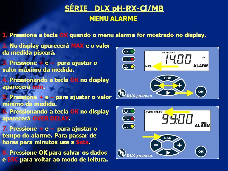 SÉRIE DLX pH-RX-Cl/MB MENU ALARME