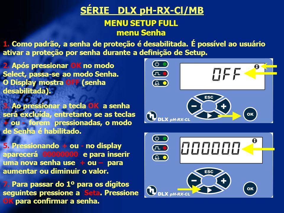 SÉRIE DLX pH-RX-Cl/MB MENU SETUP FULL menu Senha
