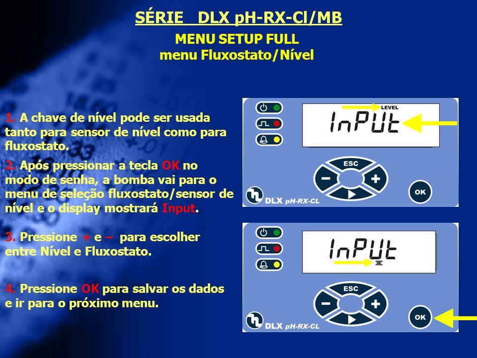 menu Fluxostato/Nível
