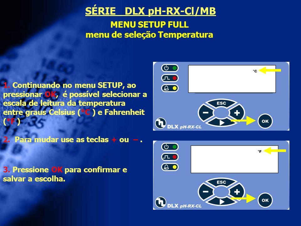 menu de seleção Temperatura