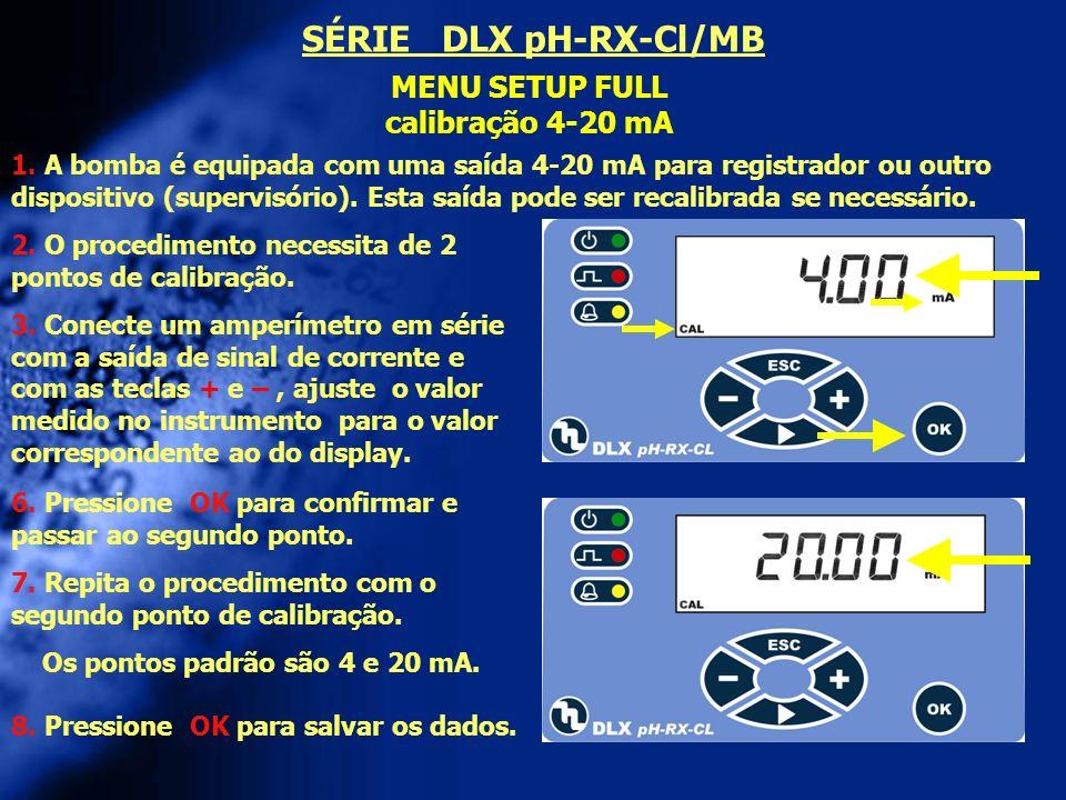 SÉRIE DLX pH-RX-Cl/MB MENU SETUP FULL calibração 4-20 mA