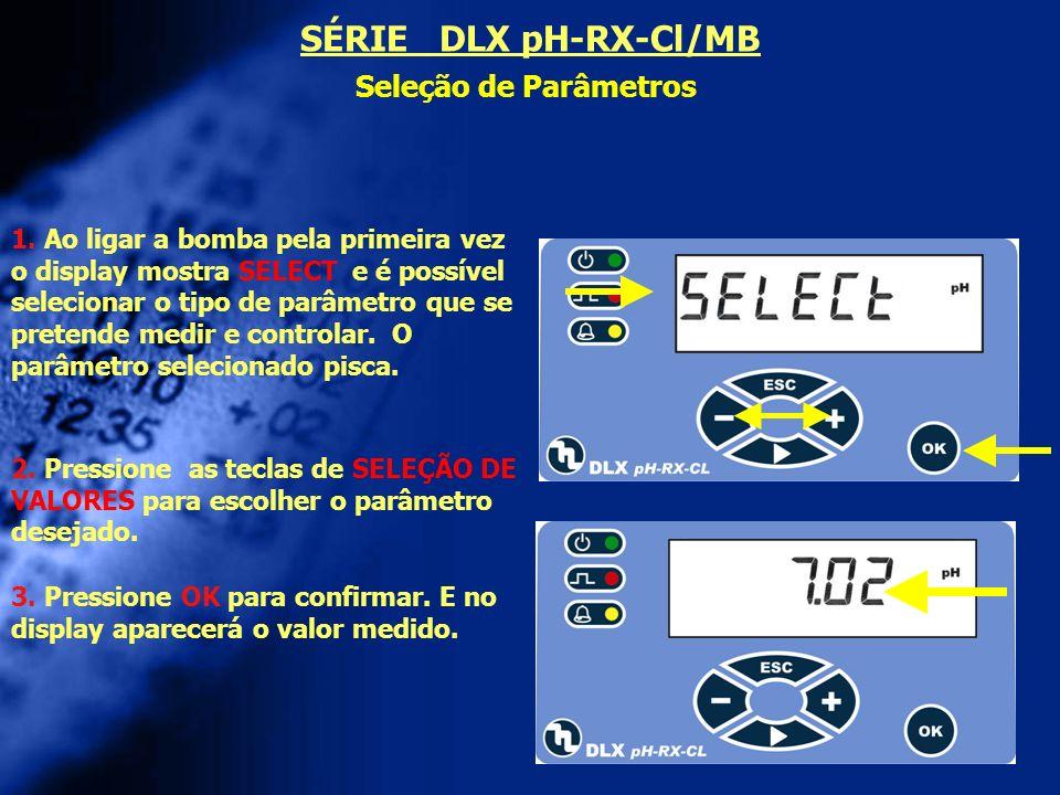 SÉRIE DLX pH-RX-Cl/MB Seleção de Parâmetros