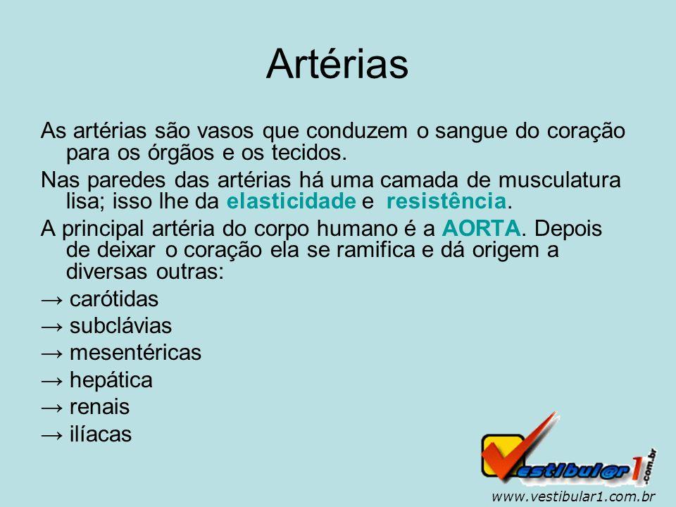 Artérias As artérias são vasos que conduzem o sangue do coração para os órgãos e os tecidos.