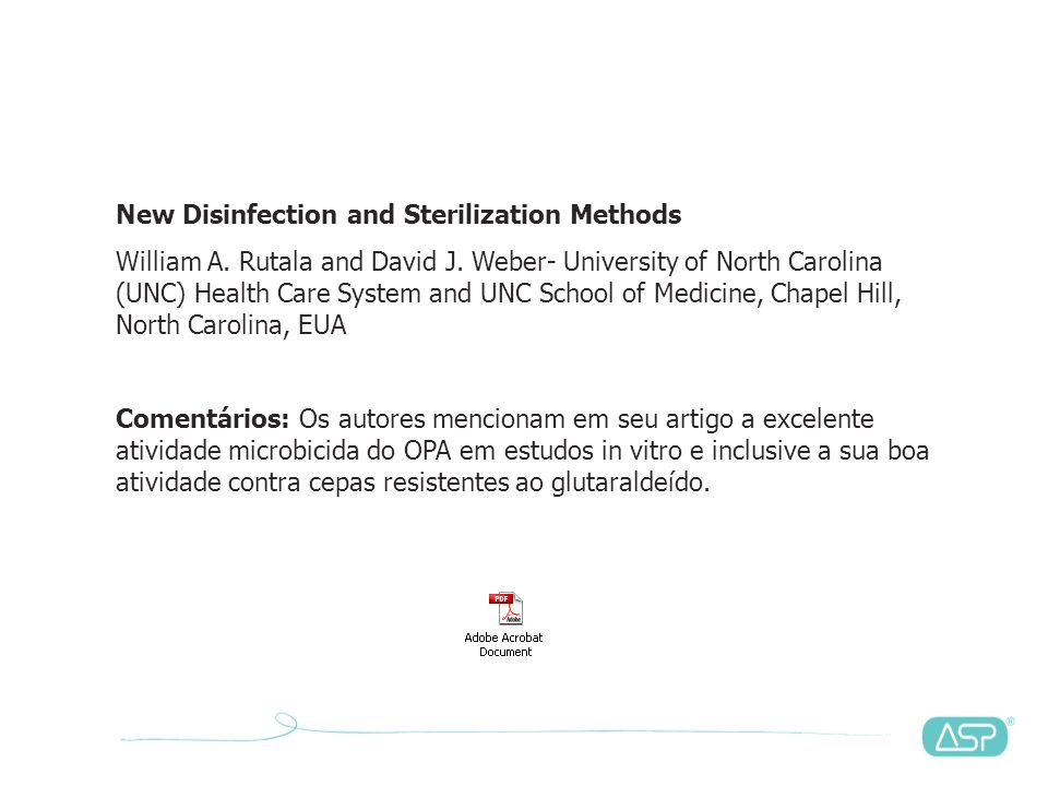 New Disinfection and Sterilization Methods