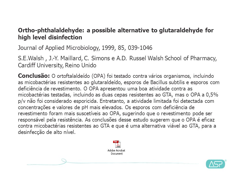 Ortho-phthalaldehyde: a possible alternative to glutaraldehyde for high level disinfection