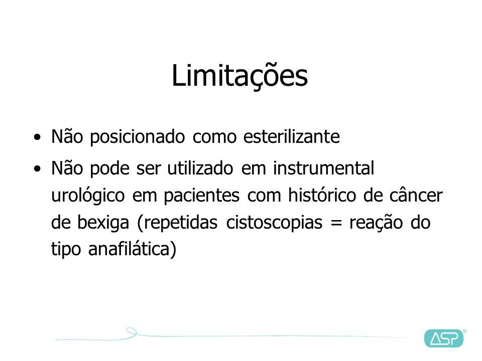 Limitações Não posicionado como esterilizante