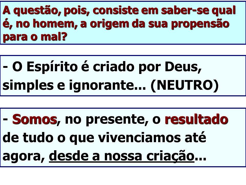 - O Espírito é criado por Deus, simples e ignorante... (NEUTRO)