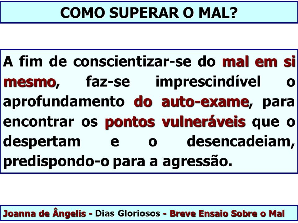 COMO SUPERAR O MAL