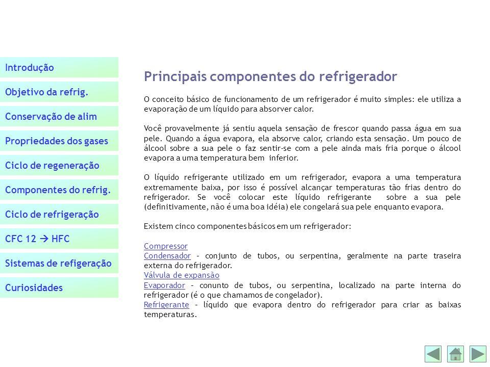Principais componentes do refrigerador
