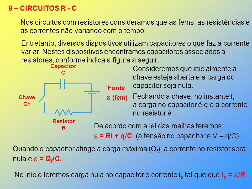  = Ri + q/C (a tensão no capacitor é V = q/C)