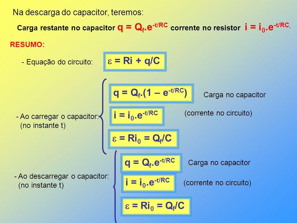  = Ri + q/C q = Qf.(1 – e-t/RC) i = i0.e-t/RC  = Ri0 = Qf/C