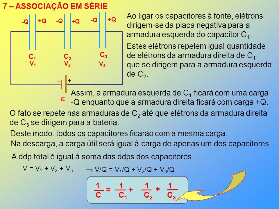  7 – ASSOCIAÇÃO EM SÉRIE Ao ligar os capacitores à fonte, elétrons