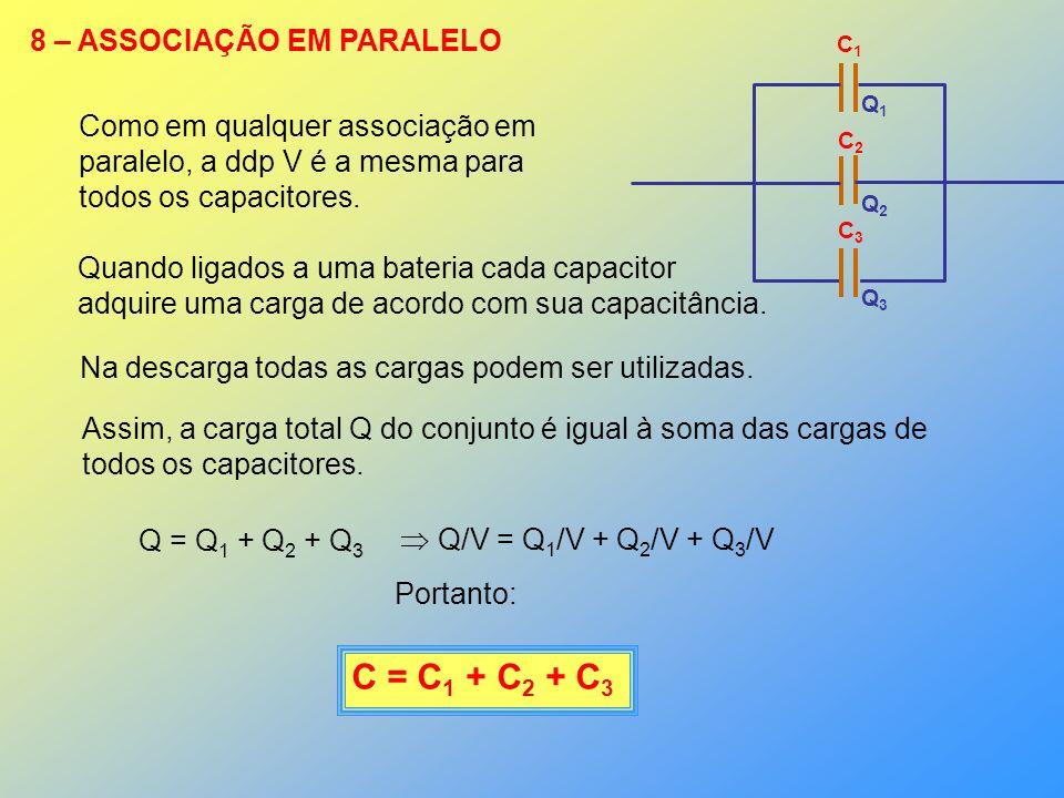 C = C1 + C2 + C3 8 – ASSOCIAÇÃO EM PARALELO