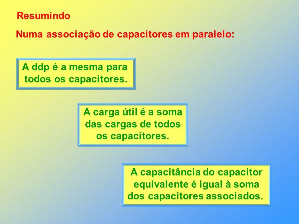 Numa associação de capacitores em paralelo: