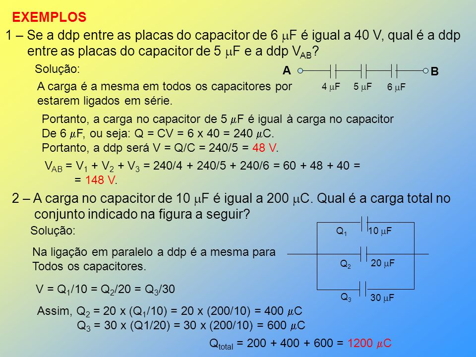 entre as placas do capacitor de 5 F e a ddp VAB