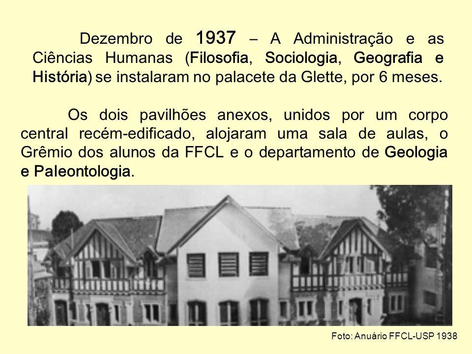Dezembro de 1937 – A Administração e as Ciências Humanas (Filosofia, Sociologia, Geografia e História) se instalaram no palacete da Glette, por 6 meses.