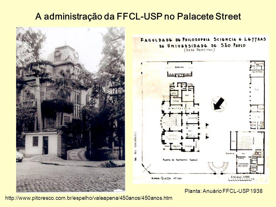 A administração da FFCL-USP no Palacete Street