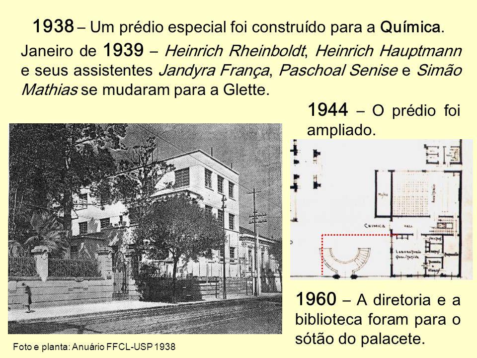 1938 – Um prédio especial foi construído para a Química.
