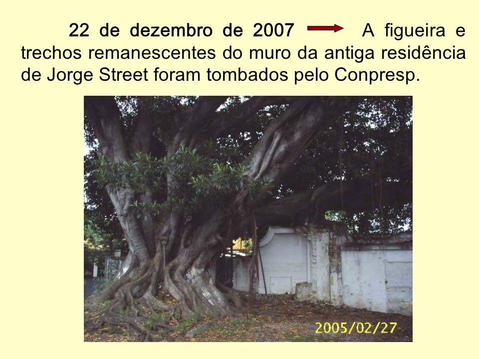 22 de dezembro de 2007 A figueira e trechos remanescentes do muro da antiga residência de Jorge Street foram tombados pelo Conpresp.