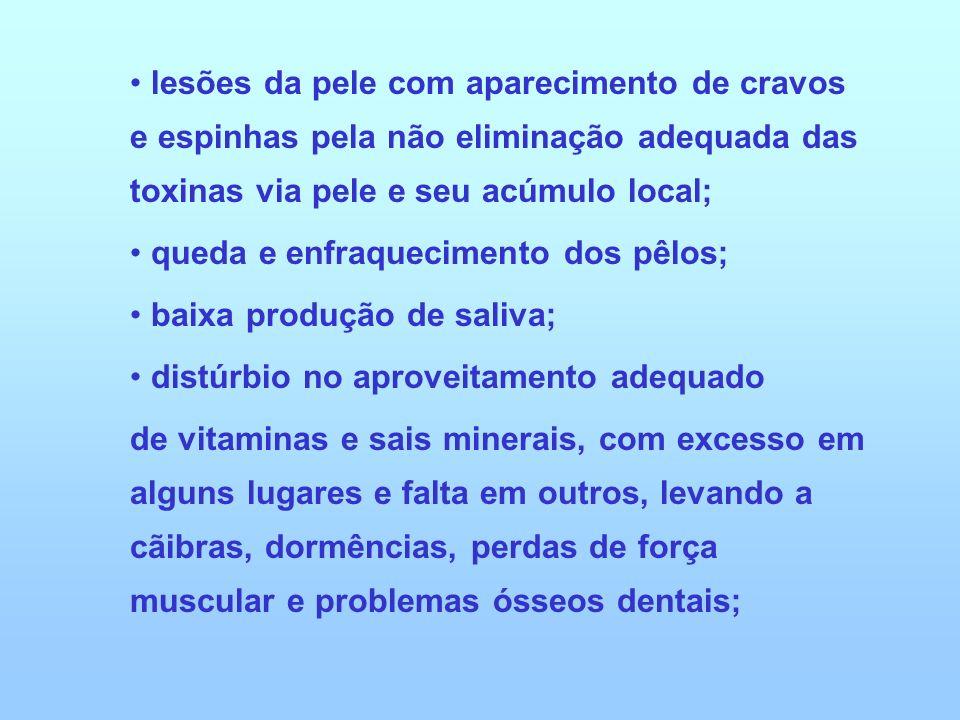 lesões da pele com aparecimento de cravos e espinhas pela não eliminação adequada das toxinas via pele e seu acúmulo local;