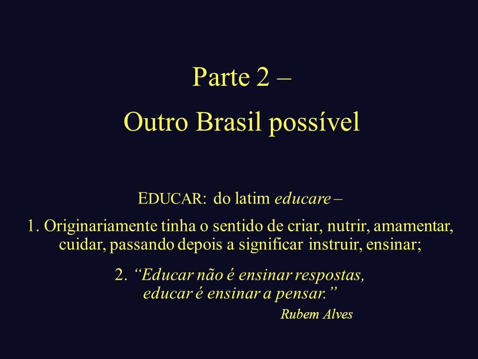 Parte 2 – Outro Brasil possível EDUCAR: do latim educare –