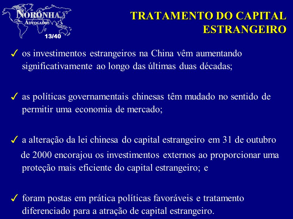 TRATAMENTO DO CAPITAL ESTRANGEIRO