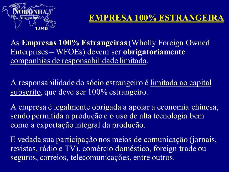 EMPRESA 100% ESTRANGEIRA