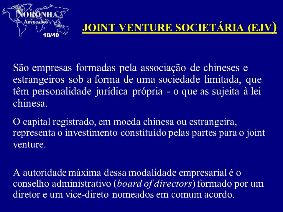 JOINT VENTURE SOCIETÁRIA (EJV)