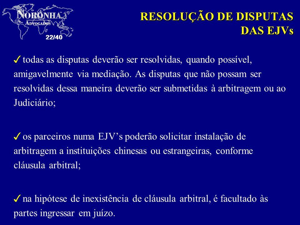 RESOLUÇÃO DE DISPUTAS DAS EJVs
