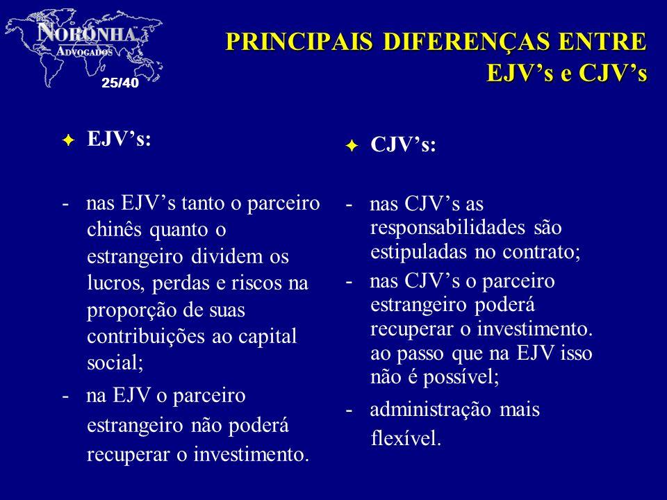 PRINCIPAIS DIFERENÇAS ENTRE EJV's e CJV's