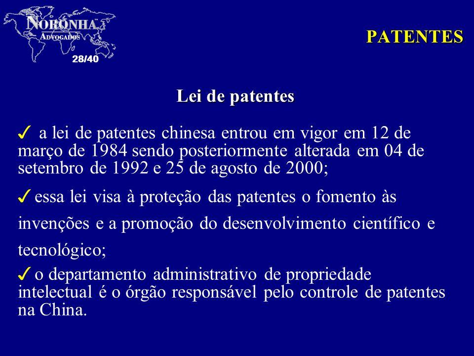 PATENTES Lei de patentes.