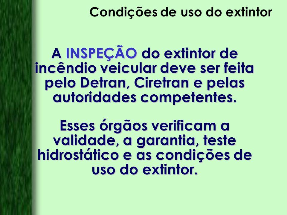 Condições de uso do extintor