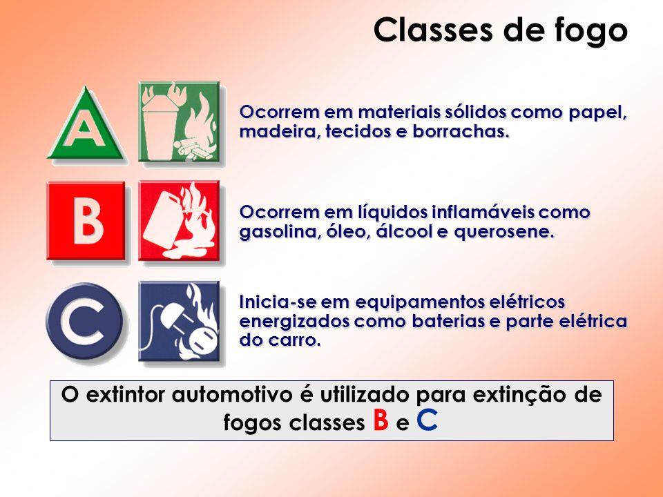 O extintor automotivo é utilizado para extinção de fogos classes B e C