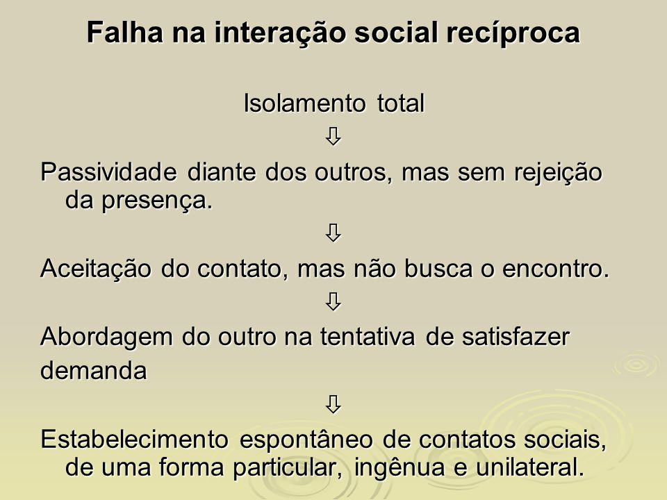 Falha na interação social recíproca